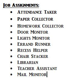 Classroom Management: Job Assignments