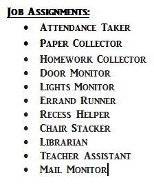 Classroom Management: Job Assignments