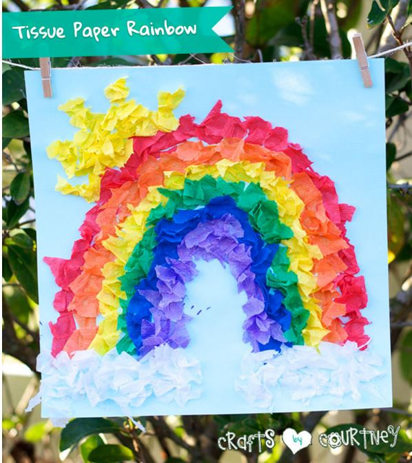 Easter Craft: Tissue Paper Rainbow